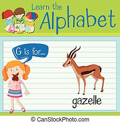 Flashcard letter G is for gazelle illustration