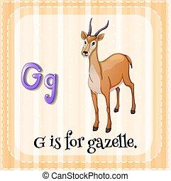 Flashcard letter G is for gazelle