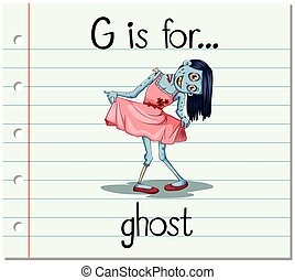 Flashcard letter G is for ghost