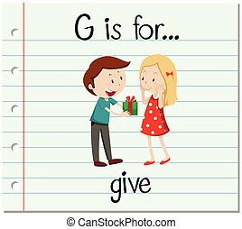 Flashcard letter G is for give