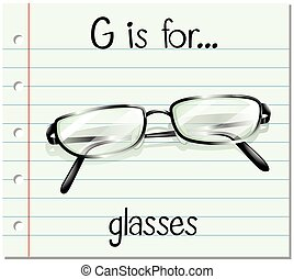 Flashcard letter G is for glasses