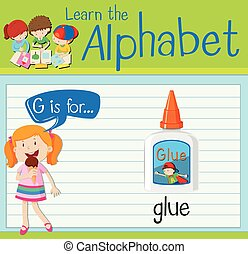 Flashcard letter G is for glue illustration