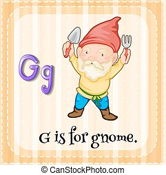 Flashcard letter G is for gnome