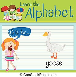 Flashcard letter G is for goose