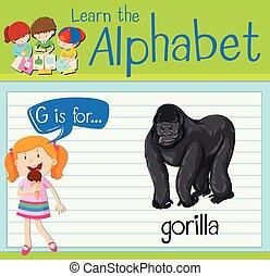 Flashcard letter G is for gorilla