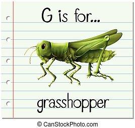 Flashcard letter G is for grasshopper