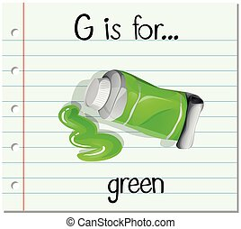 Flashcard letter G is for green