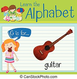 Flashcard letter G is for guitar