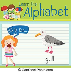 Flashcard letter G is for gull