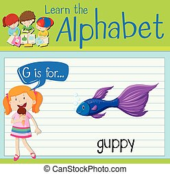 Flashcard letter G is for guppy illustration