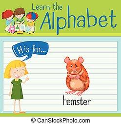 Flashcard letter H is for hamster illustration