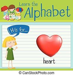 Flashcard letter H is for heart illustration