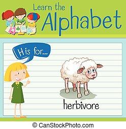 Flashcard letter H is for herbivore illustration