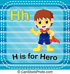 Flashcard letter H is for hero - illustration of Flashcard...