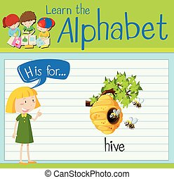 Flashcard letter H is for hive illustration