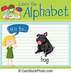 Flashcard letter H is for hog illustration
