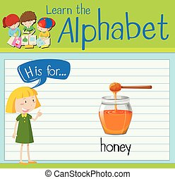 Flashcard letter H is for honey illustration