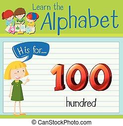 Flashcard letter H is for hunderd illustration
