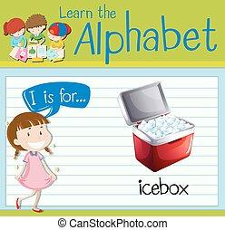 Flashcard letter I is for icebox illustration