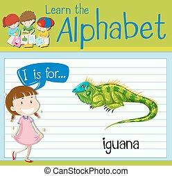 Flashcard letter I is for iguana illustration