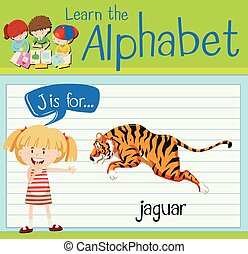 Flashcard letter J is for jaguar illustration