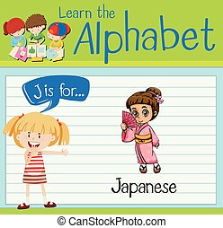 Flashcard letter J is for Japanese illustration