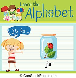 Flashcard letter J is for jar illustration