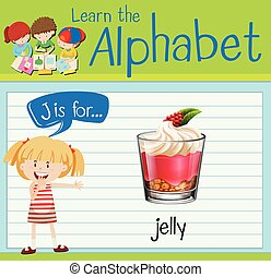 Flashcard letter J is for jelly illustration