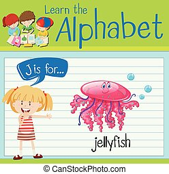 Flashcard letter J is for jellyfish illustration