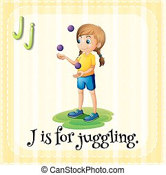 Flashcard letter J is for juggling