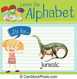 Flashcard letter J is for jurassic illustration