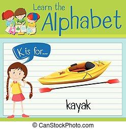 Flashcard letter K is for kayak illustration