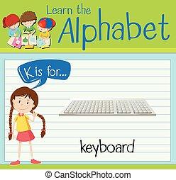 Flashcard letter K is for keyboard illustration