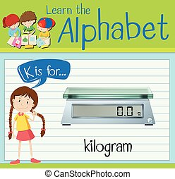 Flashcard letter K is for kilogram