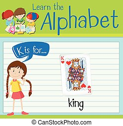 Flashcard letter K is for king