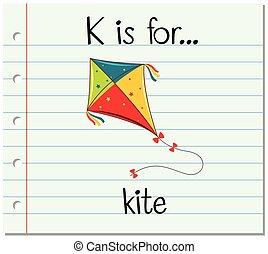 Flashcard letter K is for kite illustration