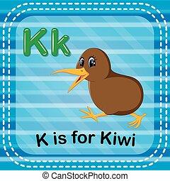 Flashcard letter K is for kiwi - illustration of Flashcard...