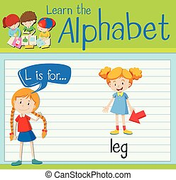 Flashcard letter L is for leg illustration