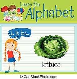 Flashcard letter L is for lettuce illustration