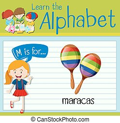 Flashcard letter M is for maracas