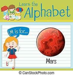 Flashcard letter M is for Mars