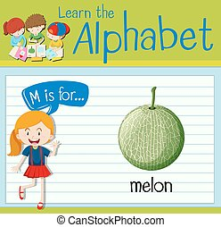 Flashcard letter M is for melon