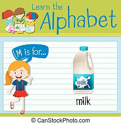 Flashcard letter M is for milk