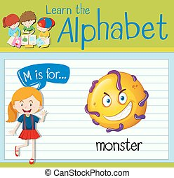 Flashcard letter M is for monster