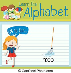 Flashcard letter M is for mop