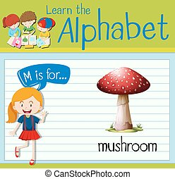 Flashcard letter M is for mushroom illustration