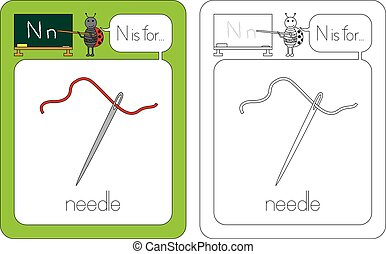 Flashcard for English language - letter N is for needle