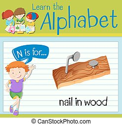 Flashcard letter N is for nail in wood