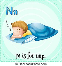 Flashcard letter N is for nap