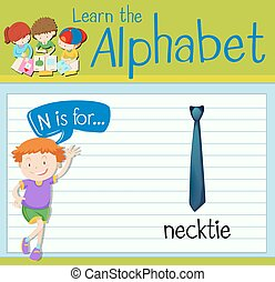 Flashcard letter N is for necktie illustration
